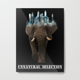 Unnatural Selection | City Elephant Typography Metal Print
