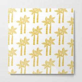 Palm Tree Pattern Mustard Yellow 3 Metal Print