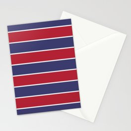 Large Red White and Blue USA Memorial Day Holiday Horizontal Cabana Stripes Stationery Cards