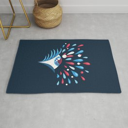 Dark Psychedelic Eye With Colorful Tears Rug