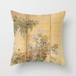 Japanese Edo Period Six-Panel Gold Leaf Screen - Spring and Autumn Flowers Throw Pillow