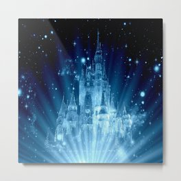 Magical Enchanted Castle Blue Metal Print