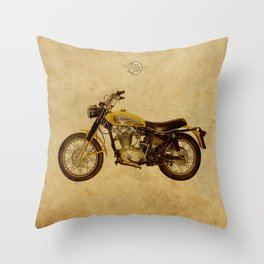 Scrambler 350 1970 vintage classic motorcycle Throw Pillow