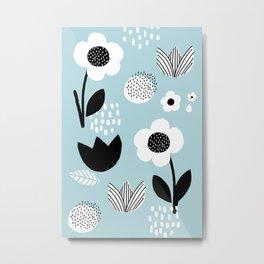 Abstract Floral Garden - Blue Metal Print