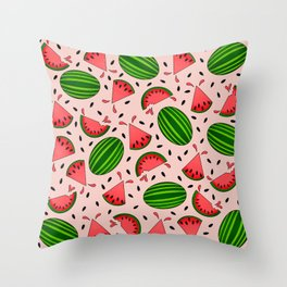 Juicy Watermelon Pattern on Peach Background Throw Pillow