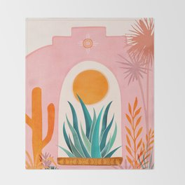 The Day Begins / Desert Garden Landscape Throw Blanket