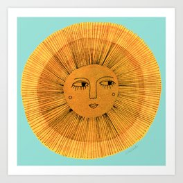 Sun Drawing Gold and Blue Kunstdrucke
