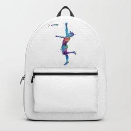 Boy Ultimate Frisbee Watercolor Silhouette Backpack