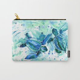 Turquoise Blue Sea Turtles in Ocean Carry-All Pouch
