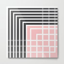 Square - Pink and Grey Metal Print