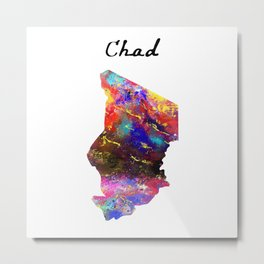 Chad 606 Watercolor Map Yoga Quote Definition Desi Metal Print