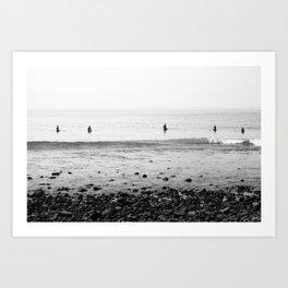 Surfers Waiting on Waves in Malibu California Art Print