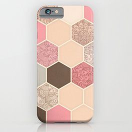 Caramel, Cocoa, Strawberry & Cream Hexagon & Doodle Pattern iPhone Case