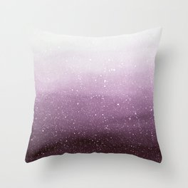 Falling Snow on Purple Throw Pillow