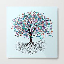 Tree of life rainbow flowers Metal Print