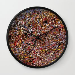 ELECTRIC 071 - Jackson Pollock style abstract design art, abstract painting Wall Clock