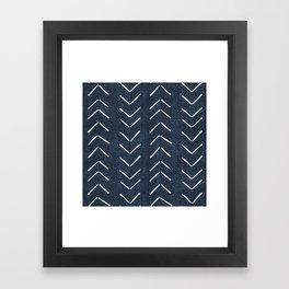 Mud Cloth Big Arrows in Navy Framed Art Print