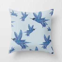 blue hummingbirds Throw Pillow