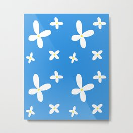 Classic Blue and White Flowers Metal Print