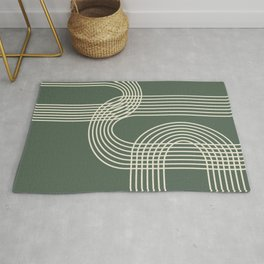 Minimalist Lines in Forest Green Rug