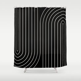 Minimal Line Curvature - Black and White II Shower Curtain