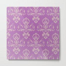 Purple Damask Metal Print