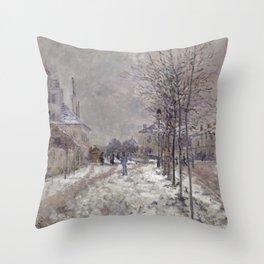 The Boulevard de Pontoise in Argenteuil, Snow Throw Pillow