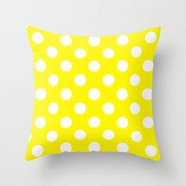 Cadmium yellow - yellow - White Polka Dots - Pois Pattern Throw Pillow