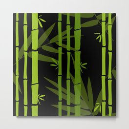 Green Bamboo Shoots and Leaves Pattern on Black Metal Print