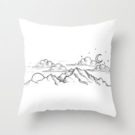 Simultaneous Night and Day Throw Pillow