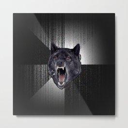 Insanity Wolf Meme Funny Memes Black Wolf                                            Metal Print