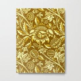 William Morris Sunflowers, Mustard and Golden Yellow Metal Print