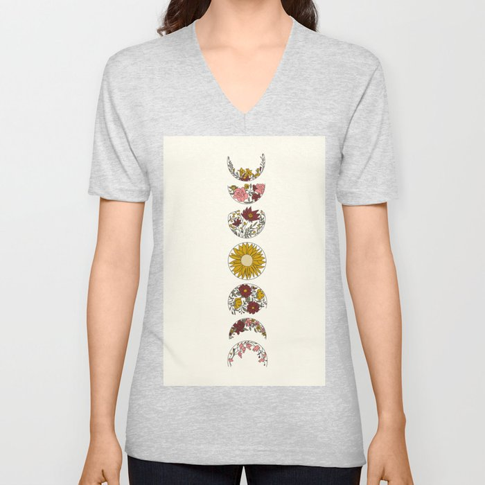 Floral Phases of the Moon Unisex V-Ausschnitt