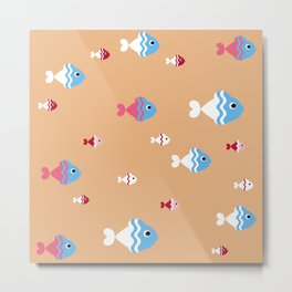 pattern background with colorful fish Metal Print