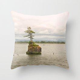 Altoona Rock Seastack Island Columbia River Oregon Washington Northwest Landscape Forest Trees Throw Pillow