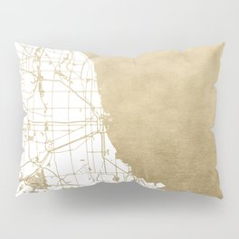 Chicago Gold and White Map Pillow Sham