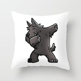 Funny Dabbing Scottish Terrier Dog Dab Dance Throw Pillow