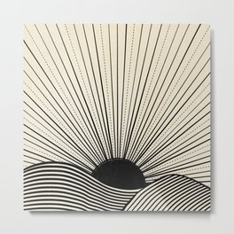 Radiant sun minimal landscape - black lines on neutral Metal Print