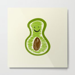Smiling Avocado Food Metal Print