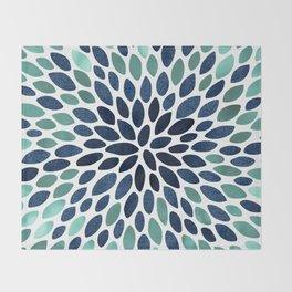 Flower Bloom, Aqua and Navy Throw Blanket