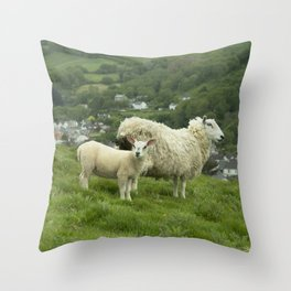 Coombe Martin Sheep  Throw Pillow