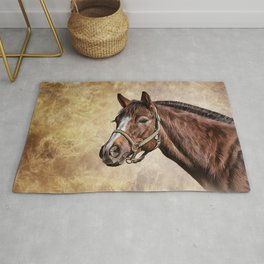 Drawing portrait  horse Rug
