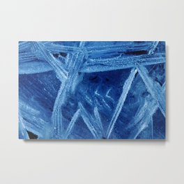 Cool Blue Ice Abstract #1, Frozen Pool Extreme Close-Up Metal Print