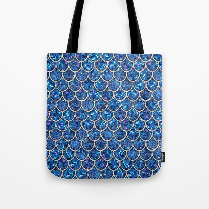 Sparkly Blue & Silver Glitter Mermaid Scales Tote Bag