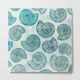 Shimmering Underwater Shell Scenery Aqua Colors Metal Print