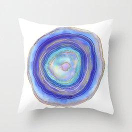 Blue geode single  Throw Pillow