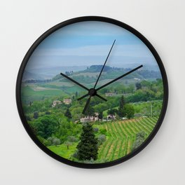 Beautiful spring landscape with hills in Tuscany countryside, Italy Wall Clock