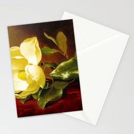 A Yellow Magnolia on Red Velvet by Martin Johnson Head Stationery Cards