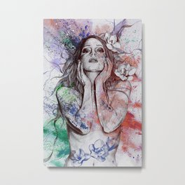 The Withering Spring I : Wine | nude tattoo woman portrait Metal Print