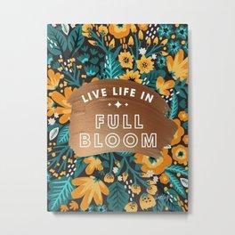 Live Life in Full Bloom – Rose Gold & Orange Palette Metal Print